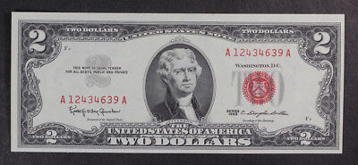 $2 1963 RED SEAL Note, $2 Dollar, Crisp Uncirculated- harder to find, QTY 1