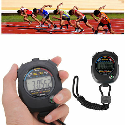 Digital Stopwatch Sports Lcd Handheld Timing Stop Watch Timer Clock Date Alarm