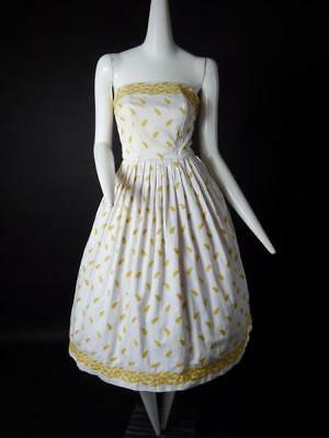 1950s White & Yellow Embroidered Cotton Sun Dress, Size-4