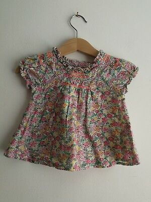 Worn Once Baby Girl 6-9 Months Summer Floral Shirt Top From Next