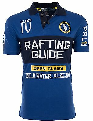 POLO RALPH LAUREN Mens Custom Fit EMBROIDERED Blue POLO SHIRT Rafting Guide $145