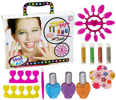 Girls Nail Art Set in Carry Case Nail Polish Childrens Craft Christmas Gift Toy