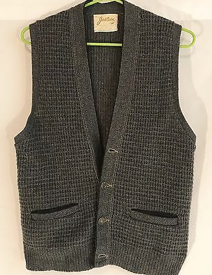 Vtg Jantzen Vest Size Medium Made in USA Light Gray Waffle Weave