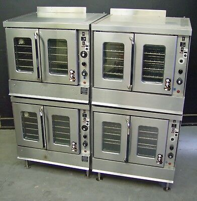 Two Montague 2-115 Series Full Size Double Stack Natural Gas Convection Ovens