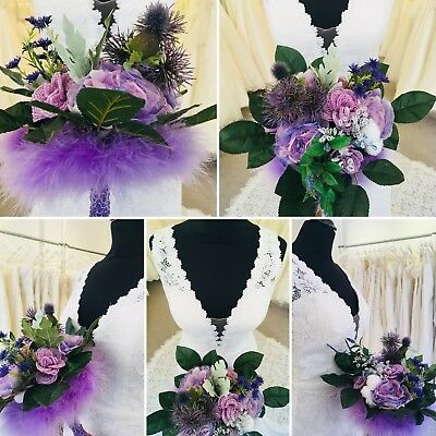 Wedding Bridal Bouquet Lilac French Beaded Roses, Thistle, Feathers, Swarovski