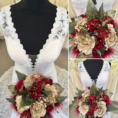Wedding Bridal Bouquet Christmas, Rich Red Flowers, Marabou Ribbon French Beaded