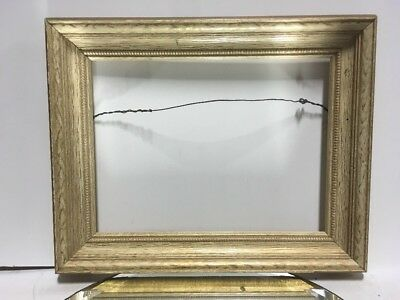 VTG. MID CENTURY Gold White Wood Picture Frame Fits 9\