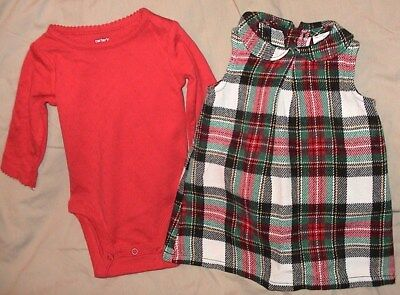 Carters Plaid Sleeveless Jumper With Matching Red Bodysuit-Size 6 Months-Nwt