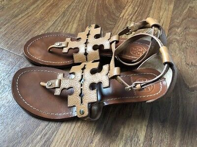 439ad8b5c4eb TORY BURCH CHANDLER WEDGE Leather SANDALS TAN SHOES US Women s 8.5