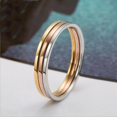 Women 3 pcs Jewelry Ring Stainless Steel Smooth Lovers With Wedding Party Ring