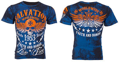 ARCHAIC by AFFLICTION T-Shirt BLACK TIDE Skull Tattoo Motorcycle Biker $40 b