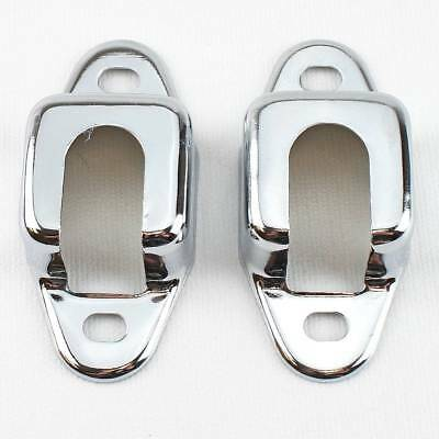 55 56 57 Chevy Station Wagon & Nomad CHROME Rear Seat Latch Metal Covers