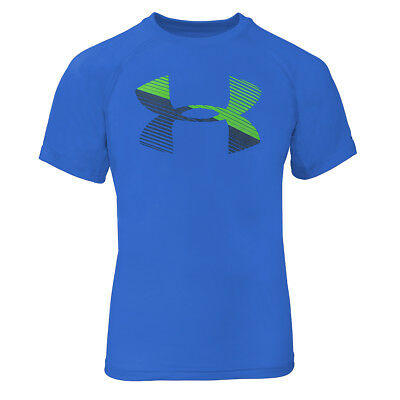Under Armour Boys' UA Tech Big Logo S/S T-Shirt Royal Blue/Lime Green/Charcoal M