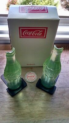 1990 Coca-Cola Bottle Shaped Bookends Plastic and Metal with Original Box