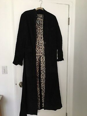 vintage suede coat long woman large black leopard topshop kate moss