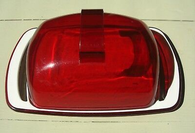 Vintage Retro Plastic Butter Dish Clear Red Lid With a Red and White Base