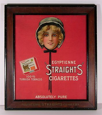 c1914 EGYPTIENNE STRAIGHTS CIGARETTES CHROMOLITHOGRAPH ADVERTISING SIGN IN FRAME