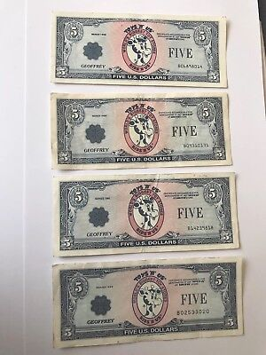 Toys R Us Set of 4 different years Geoffrey Dollars  $5 Vintage Gift Certificate