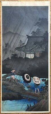 "JAPANESE SHOTEI / HOKUSAI "" SHOWER AT TERASHIMA"" ORIGINAL WOODBLOCK PRINT 1930s"