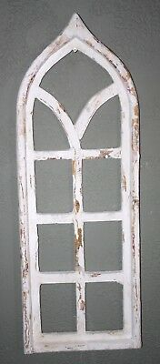 """Wooden Antique Style Church WINDOW Frame Primitive Wood Gothic 33 1/2"""" Shabby"""