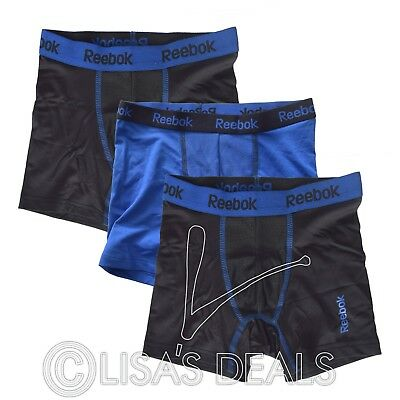 Brand New Boy's Reebok 3 Pack Performance Boxer Briefs Black Blue Red S M L