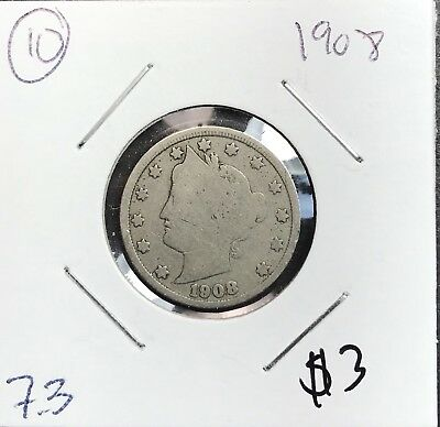 1908 Liberty V Nickel. Nice Collector Coin For Your Collection.10