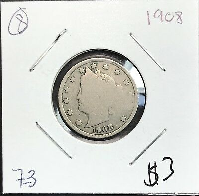 1908 Liberty V Nickel. Nice Collector Coin For Your Collection.8