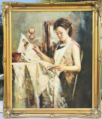 """1960s Italian / French  impressionist oil painting of girl  signed  """" Pina """" ?"""
