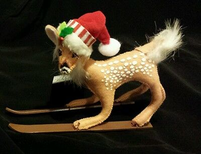 """Annalee 5"""" Skiing Shimmermint  REINDEER Fawn with Santa Hat - Christmas"""