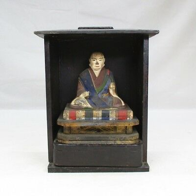 D999: Real old Japanese colored wooden statue of great Buddhist monk NICHIREN