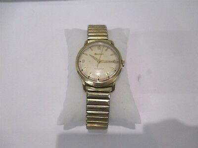 bbad06cdb Vintage Bulova Hand Wind Gold Plated Stainless Steel White Dial Men's Watch