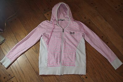 Rusty Striped Pink Hooded Sweatshirt Hoodie XL Size 12 Urban Zip up Jacket Youth