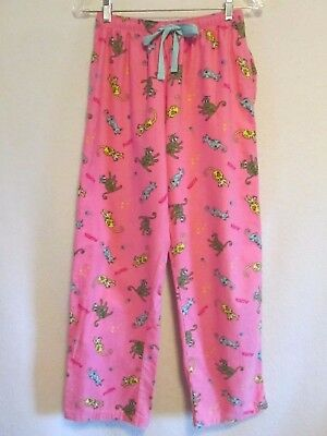 Women's MEOW Cat Kitten Pink Flannel Lounge Pants size  S