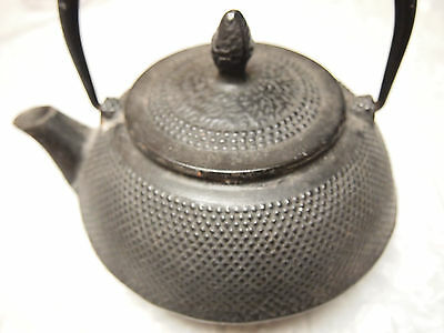 Japanese KAFUN Tetsubin Cast Iron 22 ounce Black Hobnail Tea Kettle