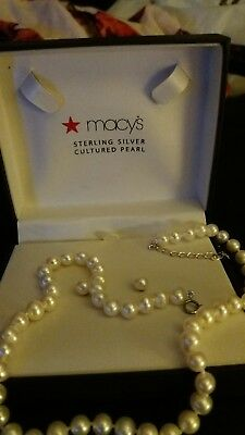 bf5b5e927e New Macy's Cultured Fresh Water Pearl Necklace And Earrings Sterling Silver