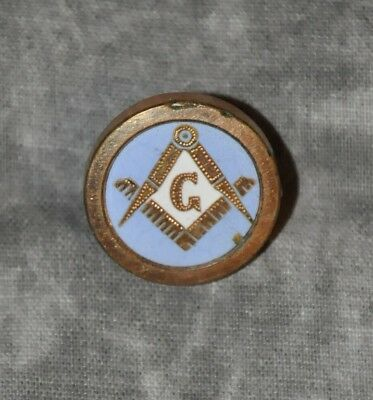 "Freemason Antique Enamel Filled Vintage 7/8"" Lapel Button Masonic"