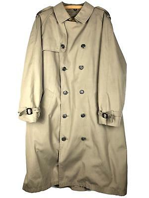 BROOKS BROTHERS Mens Trench Coat 42 Long Taupe Brown Double Breasted Lining 0205