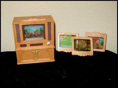 Vintage Calico Critters Sylvanian Family TELEVISION & 3 Screens for DOLLHOUSE