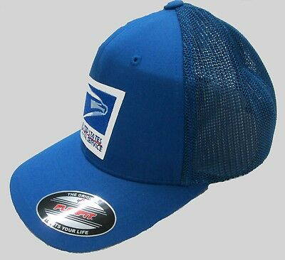 Usps United States Postal Service Royal Blue Flexfit Cap Hat Made By Yupoong