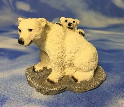 """Rare Adorable 3"""" Albert Price Products Polar Bears Figurine Family Mother & Baby"""