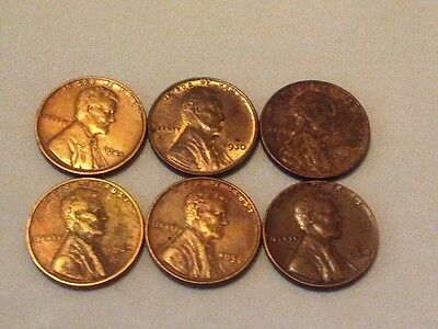 Lot of 6  Nice 1930-1964 Lincoln LH Penny Coins Wheats ~ Fill your album !!