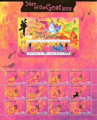 2003 Christmas Island Year Of The Goat Zodiac Sheetlet - MNH