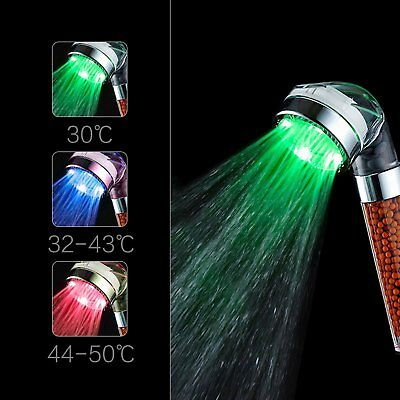 Color Changing LED Shower Head Bathroom Water Glow Negative Ionic Double Filter