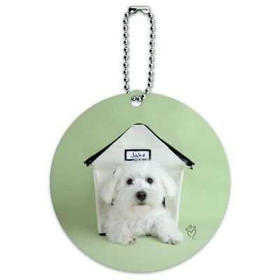 Bichon Frise Maltese Puppy Dog in House Round Luggage Card Carry-On ID Tag