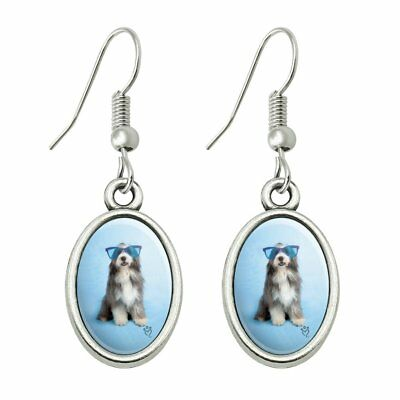 Sheepdog Bearded Collie Dog Giant Blue Sunglasses Dangling Drop Oval Earrings