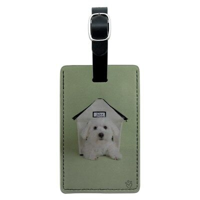 Bichon Frise Maltese Puppy Dog in House Rectangle Leather Luggage Card ID Tag