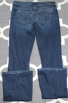 Ladies True Religion Dark Indigo White Stitch Peuc Easy Fit Denim Jeans,Sz 28/34