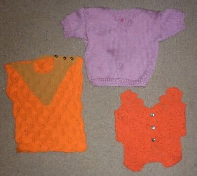 3 Vintage Hand Knit Toddler Vests And Jumper Exc- Condition
