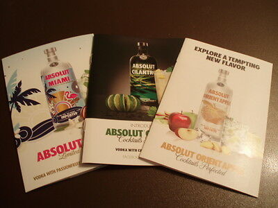 Lot of Three different Absolut Vodka recipe books. Nice