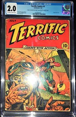Terrific Comics #4 CGC 2.0 OW/W Classic Violent War Cover Very Hard to Find 1944